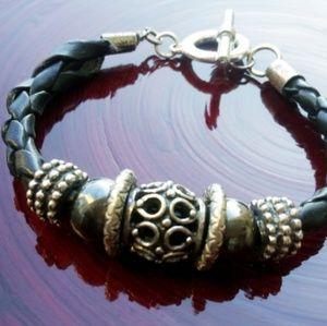Jewelry - New Leather Beaded Bracelet